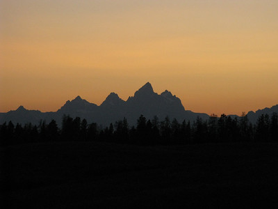 The Grand tops at 13,770'; the Middle Teton (12,804') is the prominent peak just left of it. My aim is to dayhike the Middle T the next morning.