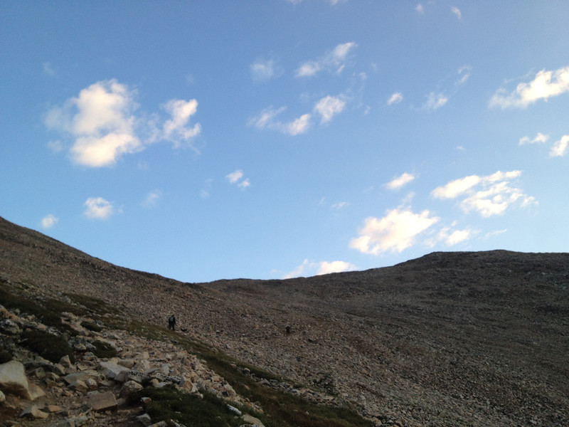 OK, I departed the TH at 05:30, now working my way up to Democrat/Cameron saddle.