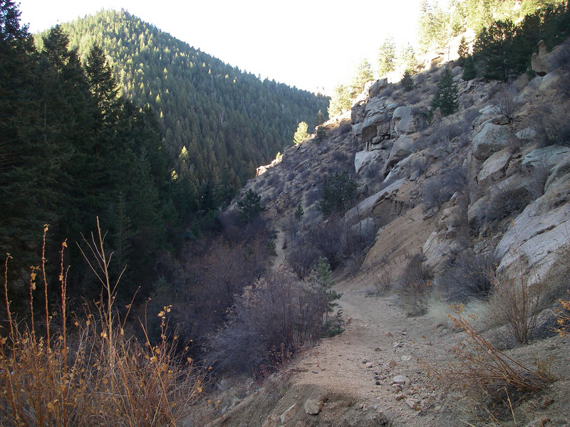 Trail is often well above the creek, but crosses it several times. However, it's possible to stay on the right (north) side til the final crossing SW of Dome Rock.