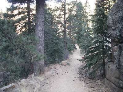 It's a gentle downhill trail following Fourmile Creek Canyon.