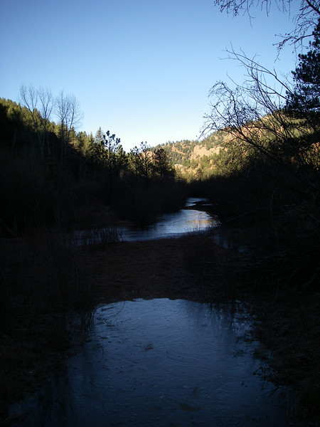 The creek was icy in places - and there were scattered snowpatches on the shady south side of the canyon.