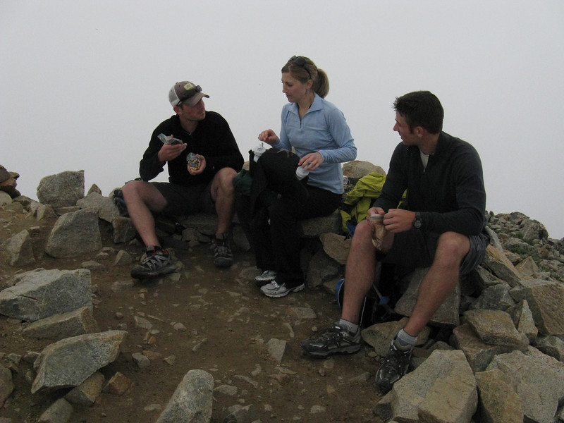 We topped out at 11:35 - just under 2.5 hrs. .. Very calm and mild - but we're now in a cloud.
