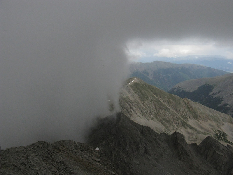Looking north - the cloud pretty much hung-up on our trail ridge.