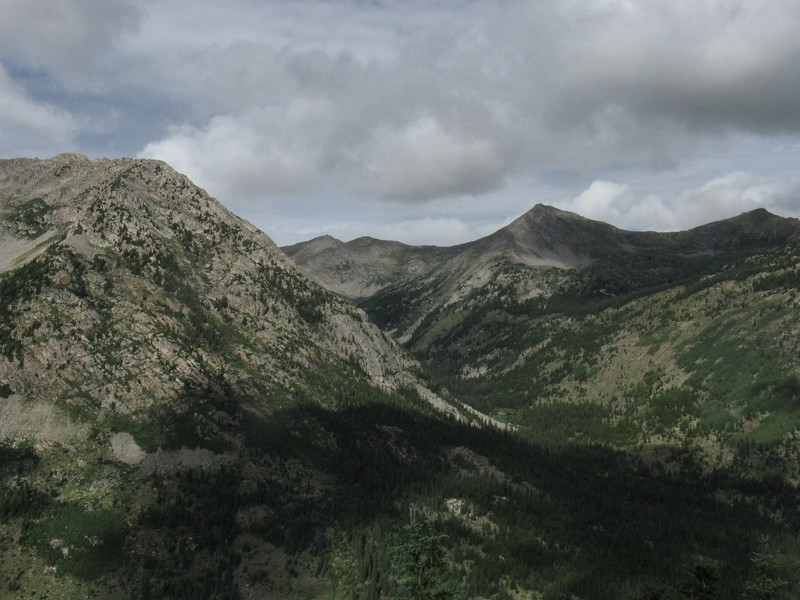 View to the west where the Continental Divide runs - Granite Mtn on left, Virginia Pk right of center.