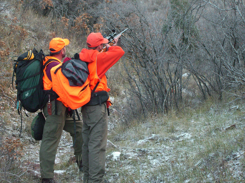 Checking out a bull on the far hillside. Yeah, there was residual snow on the ground - and it was cold.