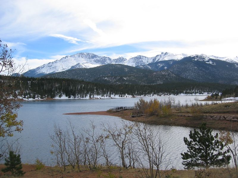 Photo from down at Crystal Creek Reservoir, near Mile 6.  Summit on left of skyline.