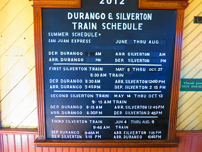 Note: three daily trains heading to Silverton - but only the second one (9:15) will stop at Needleton going and coming. More train info here: http://www.durangotrain.com/ .. [After viewing a link, use your back arrow to return to album.]
