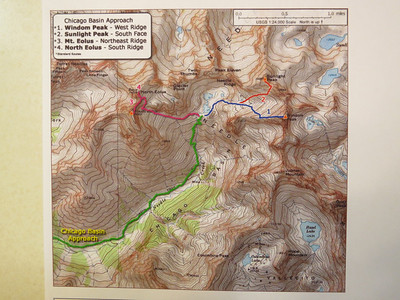 "Bill Middlebrook's 14ers site (map above) is a tremendous resource, including lots of route photos and trip reports: http://www.14ers.com/ ...      Of course, Gerry Roach's ""Colorado Fourteeners"" (3rd ed) is also a big help."