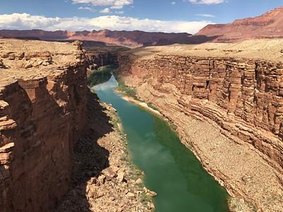 Downstream view - Vermilion Cliffs in right background.