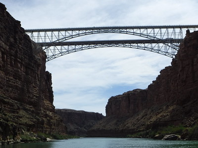 OK, game on - no turning back now  ... Passing under the Navajo Bridges (Mile 4.5).