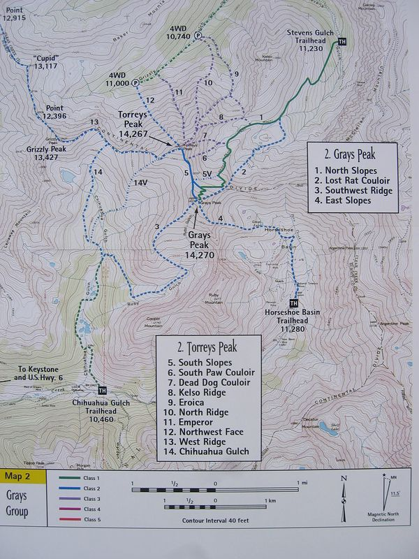 From Gerry Roach's guide. .. Grays-Torreys combo is 9.0 miles RT and 3,600 ft. gain from Stevens Gulch TH.
