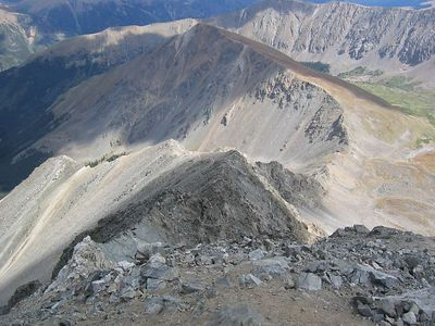 Looking down Torreys' gnarly NE (Kelso) Ridge.