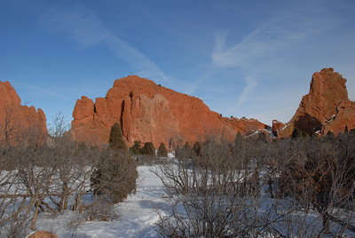 New Year's Day at Garden of the Gods. Can you see the climber on the far wall?