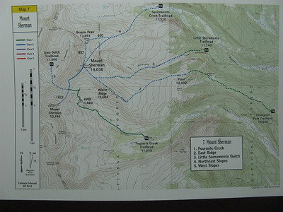 Route 1: Fourmile Crk is the 2WD TH. .. Crossing three snowpatches, I was able to drive just over a mile farther up the road - 10.6 miles from the highway. ..[Map per Gerry Roach's excellent CO 14er guide.]
