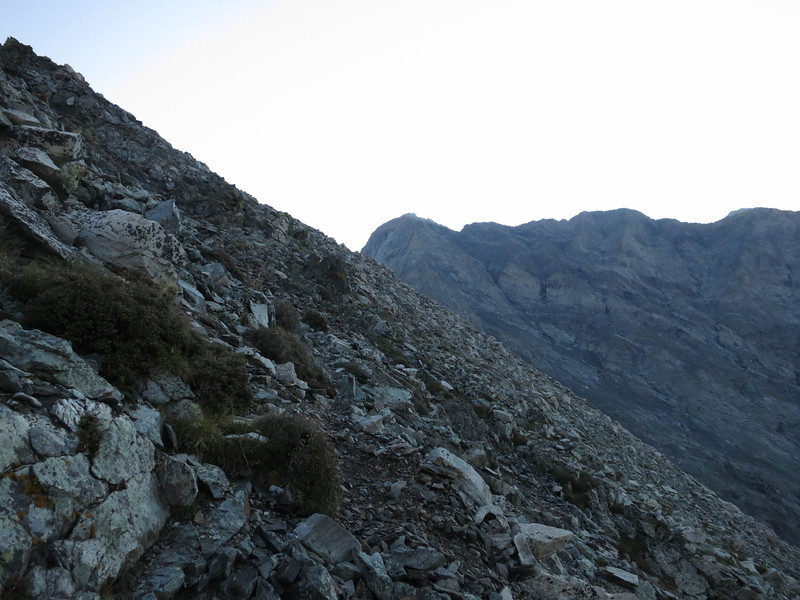 The route is generally evident by trails and cairns.