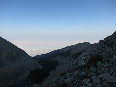 Atop ridge now, view to S/SE with low cloud layer.