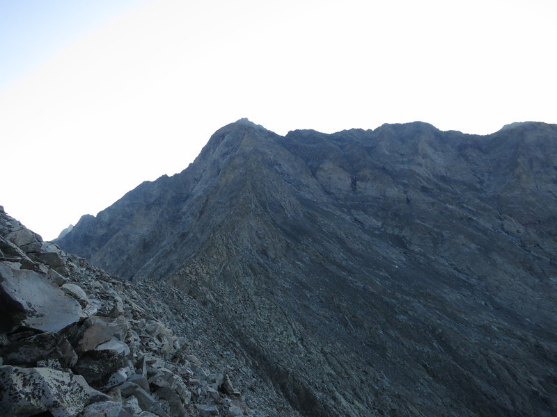 We'll be passing another notch ahead; making our way to the first gully right of the summit.