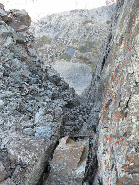 Looking down this notch; probably part of Blue Lakes.