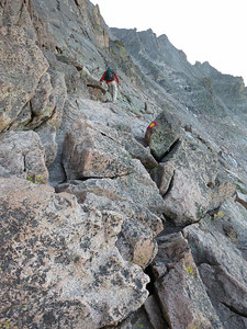 Time to head along the narrow ledges of the west face - just follow the red & yellow markers, in theory the safest way.