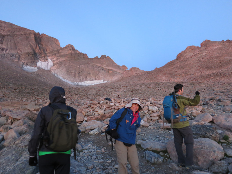 Putting aside headlamps as we reach the Boulder Field campsites about 5:30. .. The signature Keyhole looms ahead.