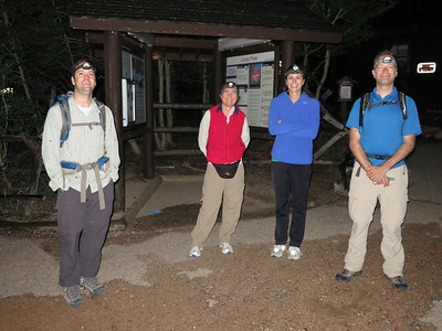 OK, 2:00 am at 9405' - the adventure begins on schedule, although everyone remained blinded for the first half-hour. :) L-R: Shane, Clare, Ann and William; Bill behind camera. .. [Actually, the girls also carried summit packs.]