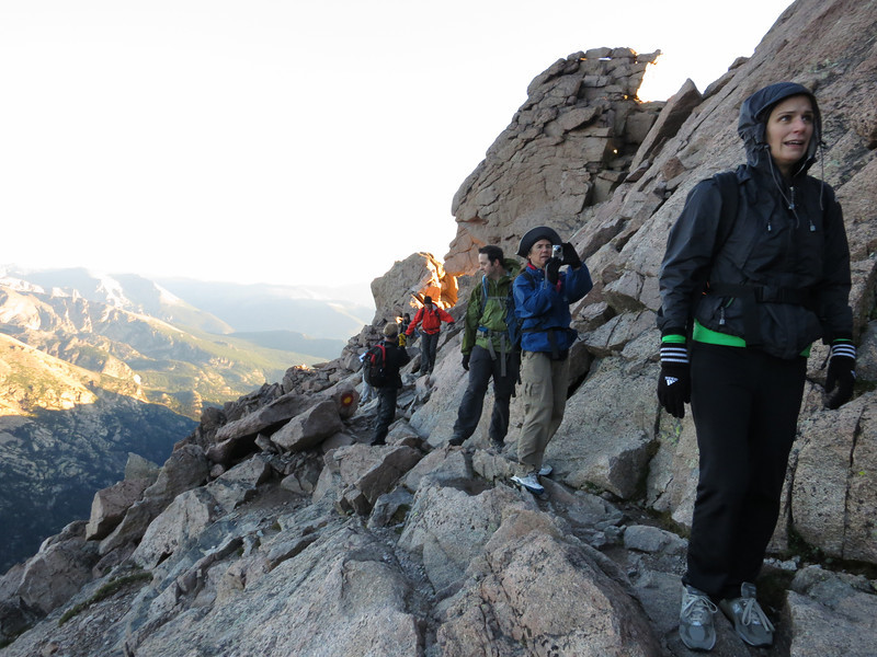 Not all of us are thrilled by what lies ahead. .. Ann quickly and wisely decides this isn't the best day to summit her first 14er. ..She would hang-out in the Boulder Field as our Prayer Warrior (not worrier).