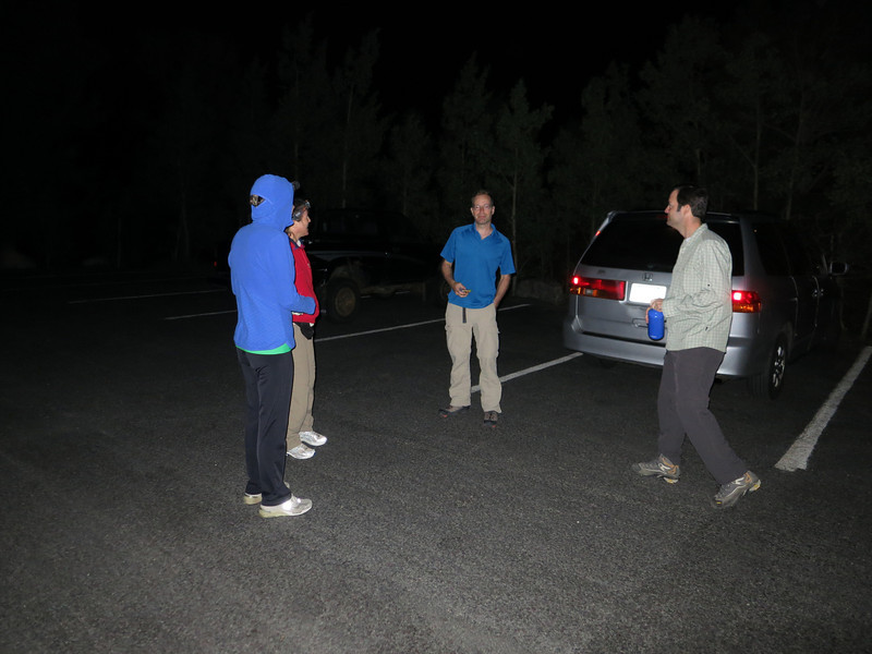 """The climbing team first meets in the TH parking lot - quickly sizing each other up for the monumental task ahead. [The three guys had camped nearby at the Longs Pk Campground, while the girls had """"camped out"""" in Estes Park.]"""