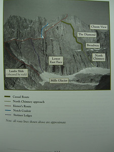 "Note the ""Casual Route"" up from Broadway - rated 5.10a, it has been free-soloed."
