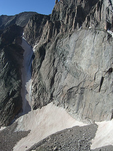 Lower half of Diamond Face.  Lambs Slide (snow gully) on left; Broadway ledge in upper section on face.