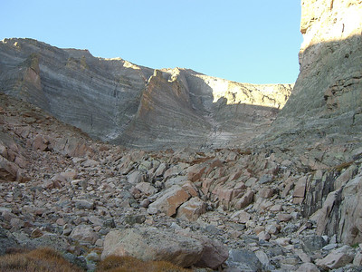 The route up the gully to the Loft is mostly marked by cairns.
