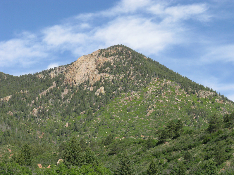 [That's really the false summit showing - the higher one is behind it from this angle.]