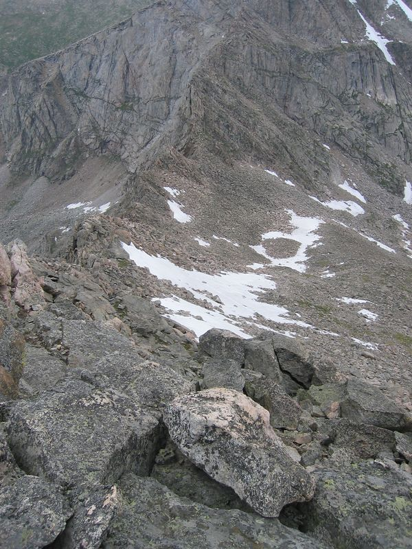 Descending north to saddle with Evans and Sawtooth Ridge.
