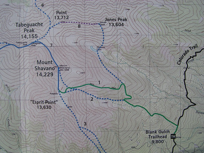 From Blank Gulch (Route 1), the RT distance to Shavano is 9.7 miles with 4,430' gain - a good workout!   [Topo from Gerry Roach's 14er book.]
