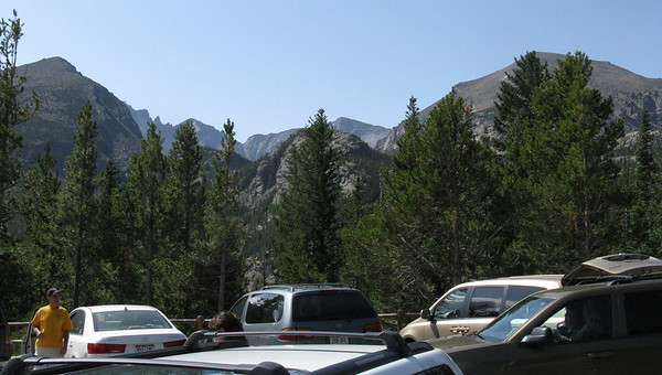 View down Glacier Gorge from Bear Lake TH parking lot. Pagoda Mtn (13,497)  left of lowest saddle with Chiefs Head Pk (13,579) to right.