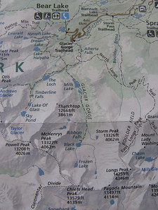 We'll have to start from the Bear Lake TH, as the Glacier Gorge TH is much smaller and typically full - adds less than 0.5 mile. ..  The established campsite is in the Gorge, just above Glacier Creek and due east of Thatchtop summit.