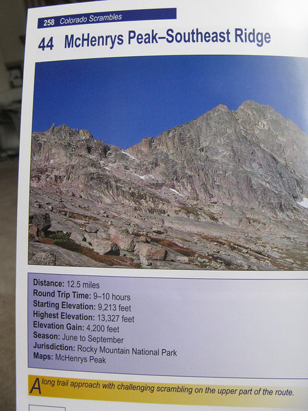 "This is the goal: McHenrys Peak - as seen in Dave Cooper's excellent ""Colorado Scrambles."" [His second edition has just come out.]"