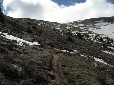 Above treeline now, approaching saddle below Devils Playground.