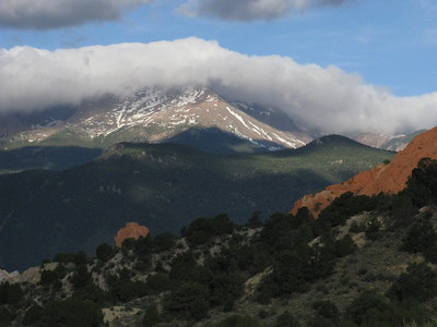 The upper Pikes Peak summit is definitely hiding.