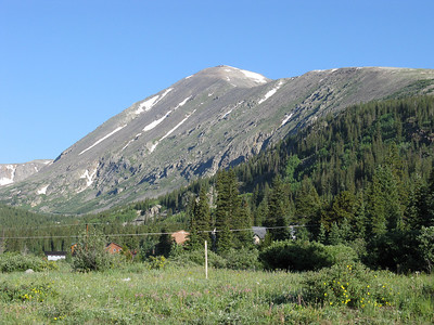South on Hwy 9 from Hoosier Pass, shortly before turnoff to Quandary trailhead.  Showing the East Ridge rising to summit.
