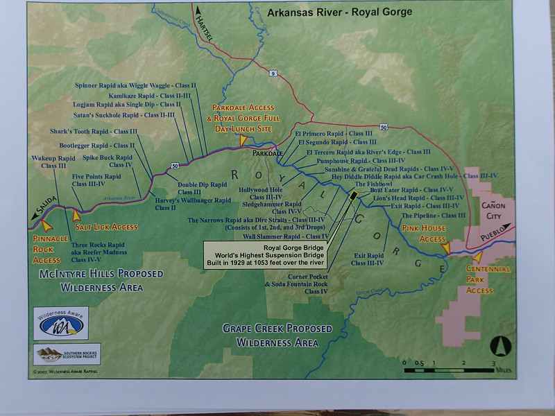 Too many rapids named here. .. Map from Wilderness Aware Rafting: http://www.inaraft.com/arkansas-river-rafting-co.php ... then click Royal Gorge Full Day. [After viewing link, use browser's back arrow to return to album.]