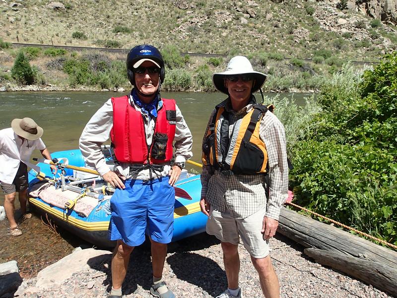 Gnarly Bill & Gnarly Bob ready to launch with Captain David. Bob uses a soft helmet.