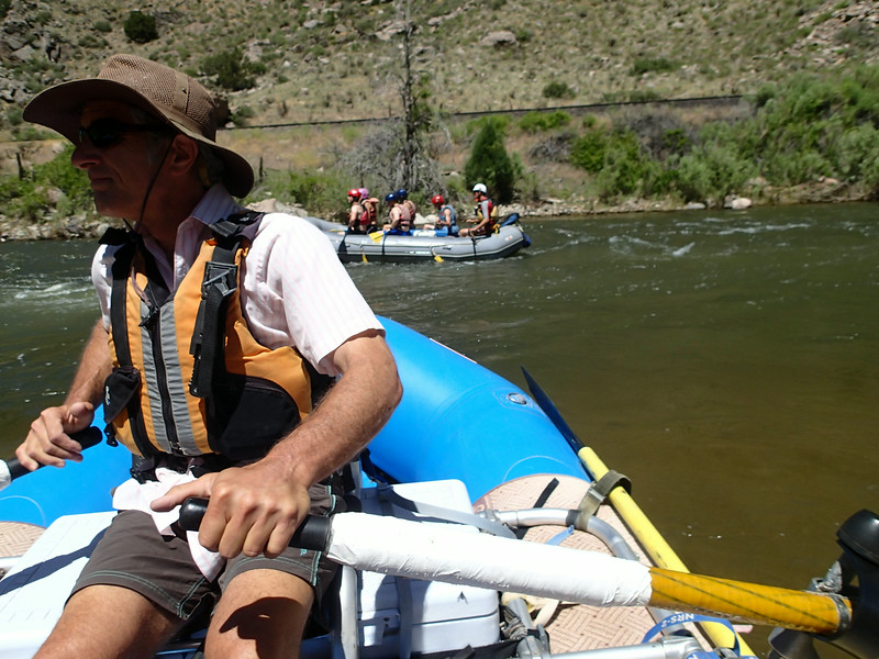 David's in control while Bob & I relax up front. SweenCat boat in rear.