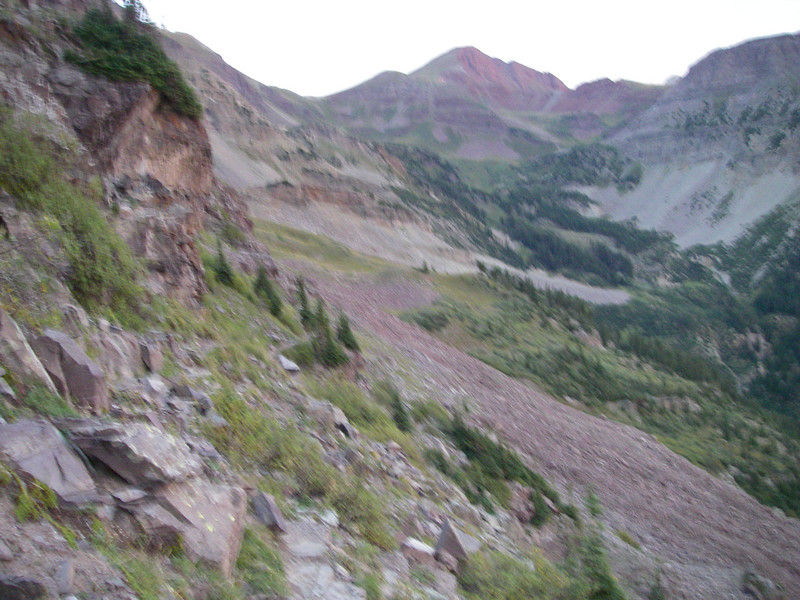 Yeah, not a sharp image, but looking back it shows our pre-dawn route up from the Minnehaha Creek drainage.