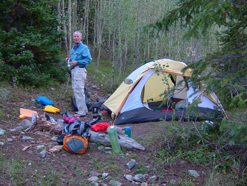 Taken later in the day, this shows our splendid campsite. Crater Lake is pretty close below us.