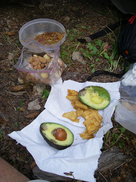 Back to camp in time for Happy Hour! ... [How come avocados only have a seed on one side??]