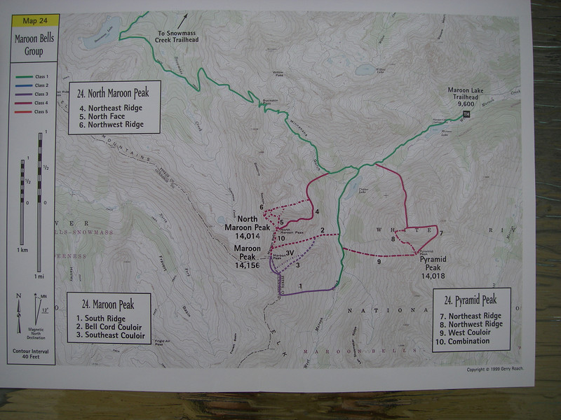 Our plan is to first climb North Maroon Pk by its 4th class NE Ridge (Route #4 per Gerry Roach's guide and swell map here.)