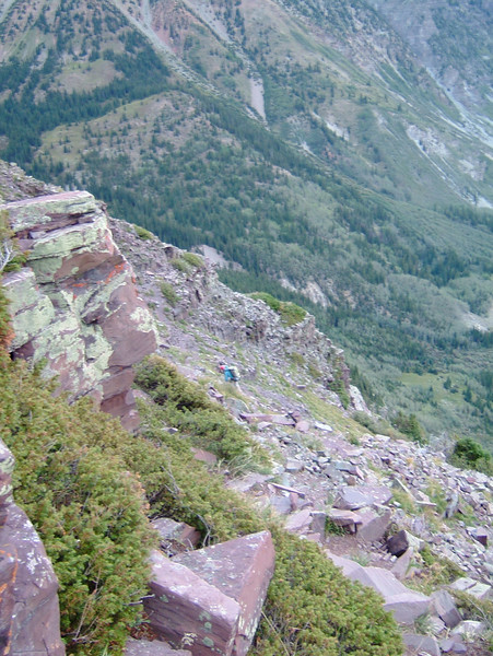 """I was generally """"the sweep"""" on the ascent. ..[Me with the red helmet in the center.]"""