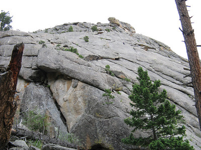 I think this shows the White Whale - a classic 5.7 crack climb. The climber is above the crack. [You can enlarge the photo!]