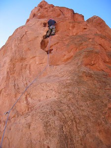 Rick leading Potholes on Red Twin Spire, 5.7 **