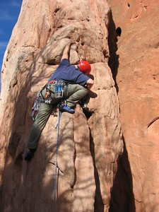 Rick placing pro on lead of  South Ridge of  White Twin Spire, 5.6 ***